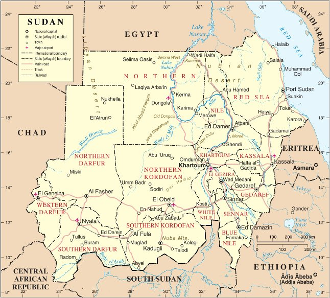 Sudan, conveniently located between Ethiopia and Egypt.
