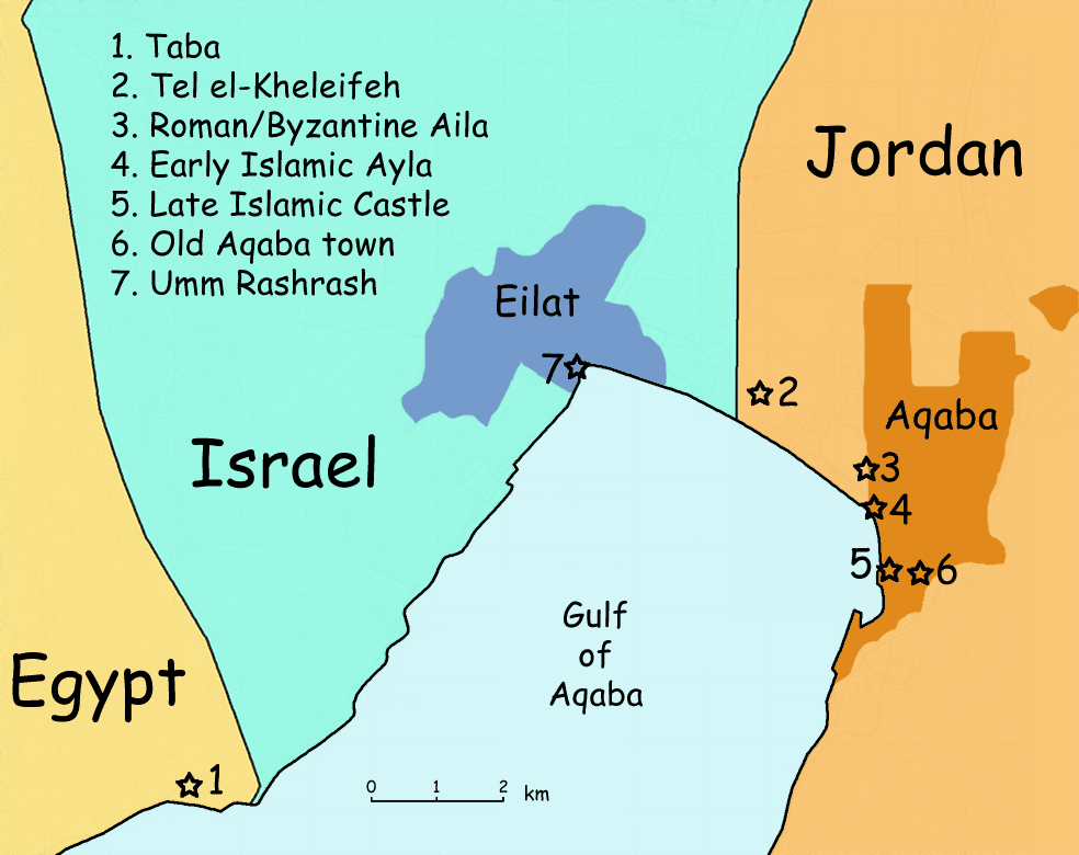 A map of historical sites along the northern tip of the Gulf of Aqaba, showing the relative positions of Taba, Eilat, and Aqaba.  Image credit: Zero0000